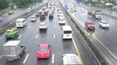 main street : BANGKOK, THAILAND - JULY 30, 2018 : Traffic jam on a motor way ring road from Bangkok to Suvarnabhumi airport in Thailand. Stock Footage