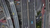 Aerial view of traffic on the road and highway in Bangkok, Thailand. Taken by drone.