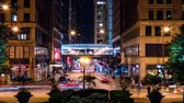 dik : A time lapse of city traffic and pedestrians walking around at night in Chicagos downtown Loop neighborhood on Michigan Avenue. Stok Video