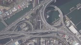 Top view zoom in over the highway, expressway and highway, Aerial view interchange of Osaka City, Osaka, Kansai, Japan