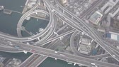 Top view over the highway, expressway and highway, Aerial view interchange of Osaka City, Osaka, Kansai, Japan Dostupné videozáznamy