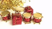 Group of gold gift boxes with camera panning on white background