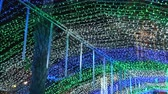 Under beautiful flowing lights on ceiling