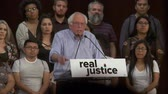 presidential candidate : BROKEN SYSTEM. Bernie Sanders blames poverty and racism for the problems. June 2nd, 2018 at the Rally for Justice in downtown Los Angeles, California. Stock Footage