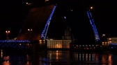 opening : Night view of Opening Palace bridge in St. Petersburg, Russia. Full HD