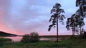 cana : Sunrise on the Votkinskiy pond. Votkinsk, Udmurt Republic, Russia, Full HD Stock Footage