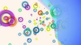 sólido : Abstract flying colorful glow circles particles animation with diagonal solid on light background. Vídeos