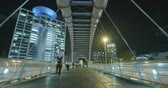 срочный : Time-lapse of people on a bridge in Tel Aviv, Israel