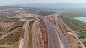 autobahn : Aerial footage of large highway construction project with tunnels and bridges Stock Footage