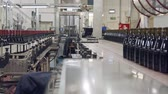 ambience : Red Wine bottles on a conveyor belt in a wine bottling factory.
