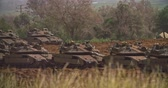 bojiště : Gaza, March 30, 2019. IDF tanks lined up in combat formation near the border