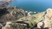 roques : rocky coast and mediterranean sea in eastern Pyrenees, Roussillon in southern of France Stock Footage