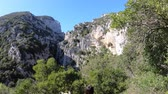 occitania : Canyon of Galamus in Pyrenees orientales, Corbieres in southern of France Stock Footage