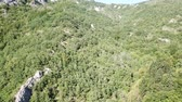 pirineus : Aerial view of pyrenean forest filmed with drone, Aude in southern of France