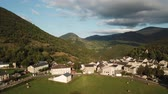 aerial view of french mountain village in Pyrenees, Aude in southern of France