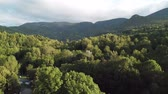 palheiro : Aerial view  of haystack on pyrenean field in Aude, Languedoc in southern of France Stock Footage