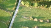 occitania : aerial view of path, meadow and forest in Pyrenees, Aude in southern of France
