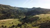 francouzština : aerial view of wild pyrenean mountains and meadow filmed with drone, Aude in the south of France