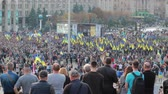 documentary : Kyiv, Ukraine 14 oct 2019. Maidan. High point overlook on crowd protesting against Minsk Protocol and Steinmeier Formula Stock Footage