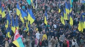 euromaidan : Kyiv, Ukraine 14 oct 2019. Maidan. High point overlook on crowd protesting against Minsk Protocol and Steinmeier Formula Stock Footage