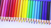 fornecimento : Brand new color pencils right out of the box for school supplies. Stock Footage