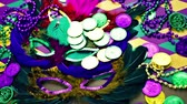 mascarada : Multicolored decorations for Mardi Gras party on the table.