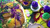 terça feira : Table decorated for Mardi Gras party.