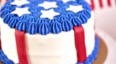 clothe : Variety of desserts on the table for July 4th party. Stock Footage