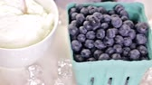 нектар : Ingredients to make smoothie with plain yogurt and fresh berries on the table.
