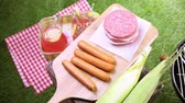 não alcoólica : Summer picnic with small charcoal grill in the park.