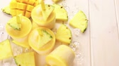 caloria : Homemade low calorie pop ice  made with mango, pineapple and coconut milk.