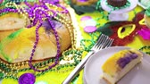вторник : Table decorated for Mardi Gras party.