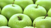 dairesel : Close up of organic Granny Smith apples. Stok Video