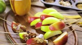 mix : Autumn picnic with fresh caramel apple slices.
