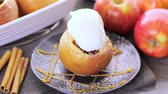 big apple : Organic baked apples served with vanilla ice cream.
