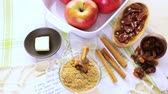 recipe : Ready to be baked organic apples with pecans and raisins. Stock Footage