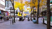 shuttle : Denver, Colorado, USA-November 9, 2015. Lunch hour on 16th Street Mall in late Autumn.