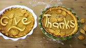 dezert : Homemade pumpkin pies with Give Thanks sign and Autumn stamped leafs.