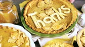 big apple : Homemade pumpkin pies with Autumn stamped leafs.