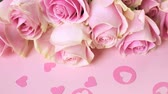 romance : Pink roses on pink background.