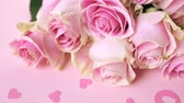 renk : Pink roses on pink background.