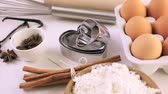 ingrediente : Ingredients to bake sugar cookies for Valentines Day.