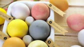 античный : Easter eggs painted with natural egg dye from fruits and vegetables. Стоковые видеозаписи