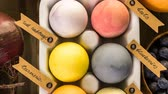 mix : Easter eggs painted with natural egg dye from fruits and vegetables. Stock Footage