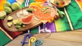 serrano : Spicy grapefruit margarita on ice in margarita glasses. Stock Footage