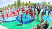 sídelní struktura : Denver, Colorado, USA-June 3, 2016. Splash park playground in urban area in the Summer.