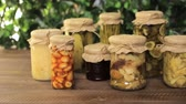 zelí : Homemade canned organic vegetables in glass jars.