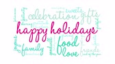Happy Holidays word cloud on a white background animated text.