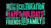 Happy Holidays word cloud on a black background animated text. Stock Footage