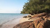 záliv : Scenic sandy beach line in the evening at sunset. Calm waves of Andaman Sea wash the sand of picturesque beach with boulders, tropical vegetation and palm trees on Koh Phangan island. 50fps full hd.